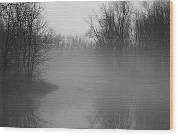 Fog At Mud Creek Wood Print by Jim Vance