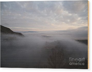 Wood Print featuring the photograph Fog At Sunrise In Jerome Arizona With San Francisco Peaks Of Flagstaff In The Distance by Ron Chilston