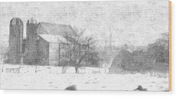 Fog Down On The Farm Wood Print by Rosemarie E Seppala