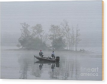 Wood Print featuring the photograph Fog Fishing by Geraldine DeBoer
