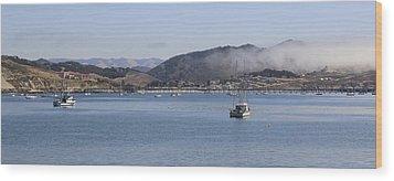 Fog Hovering Over San Luis Obispo Bay Wood Print