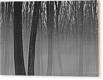 Fog In The Dark Forest Wood Print