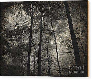 Fog In The Forest Wood Print by Lorraine Heath