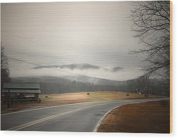 Fog In The Hollow Wood Print by Cindy Rubin