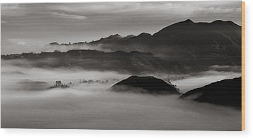 Fog In The Malibu Hills Wood Print