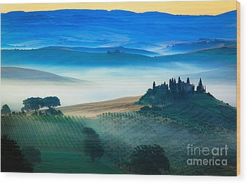 Fog In Tuscan Valley Wood Print by Inge Johnsson
