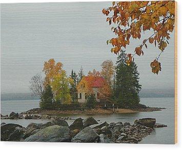 Fog Island Wood Print by Elaine Franklin