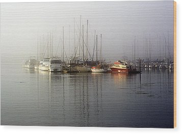 Fog Light In The Harbor Wood Print by AJ  Schibig