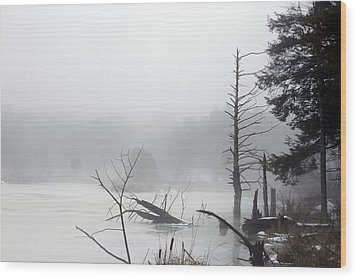 Fog On The Beaver Pond Wood Print by David Simons