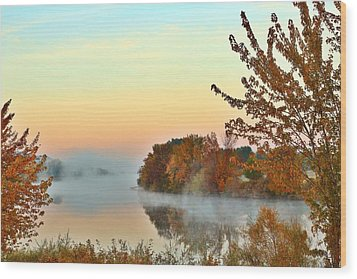 Wood Print featuring the photograph Fog On The River by Lynn Hopwood