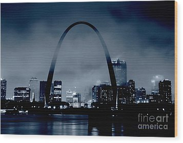 Fog Over St Louis Monochrome Wood Print
