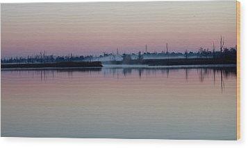 Fog Over The River Wood Print by Cynthia Guinn