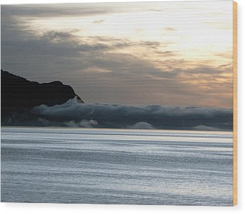 Wood Print featuring the photograph Fog Roll Sunset by Jennifer Wheatley Wolf