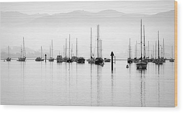 Fog Settles On Morro Bay Wood Print by AJ  Schibig