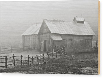 Foggy Barn Wood Print