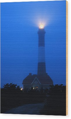 Foggy Beacon Wood Print by James Kirkikis