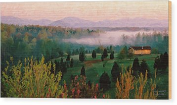 Foggy Blue Ridge Morning Wood Print