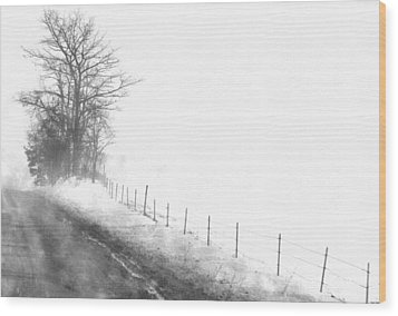 Foggy Country Road Wood Print by Rosemarie E Seppala