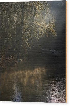 Wood Print featuring the photograph Foggy Creek by Inge Riis McDonald