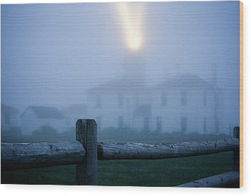 Foggy Day At The Lighthouse Wood Print by Allan Millora Photography