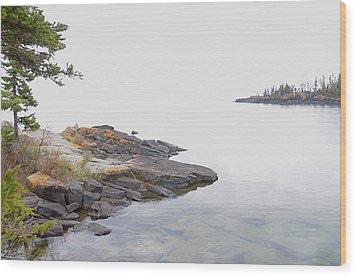 Foggy Day On Lake Superior 2 Wood Print by Sandra Updyke
