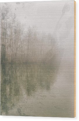 Wood Print featuring the photograph Foggy Day On The Border Of The Lake by Maciej Markiewicz