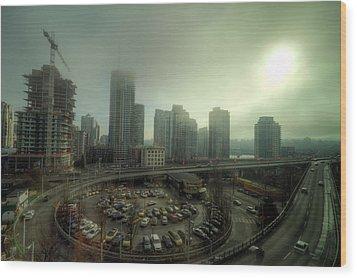 Foggy Downtown Vancouver Wood Print by Eti Reid