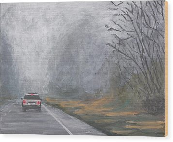 Wood Print featuring the painting Foggy Drive Home by Robert Decker