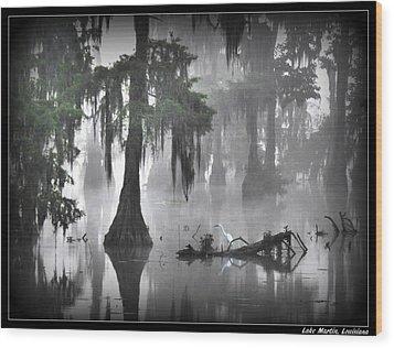 Foggy Egret Wood Print