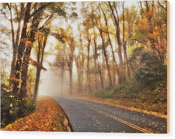 Foggy Fall Wonderland - Blue Ridge Parkway I Wood Print by Dan Carmichael