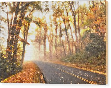 Foggy Fall Wonderland - Blue Ridge Parkway II Wood Print by Dan Carmichael