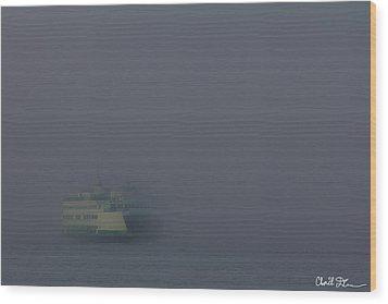 Foggy Ferry Ride Wood Print