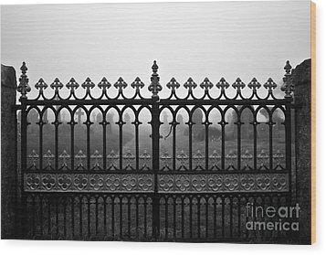 Foggy Grave Yard Gates Wood Print by Terri Waters