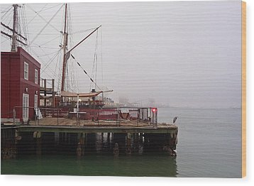 Wood Print featuring the photograph Foggy Harbor by John Collins