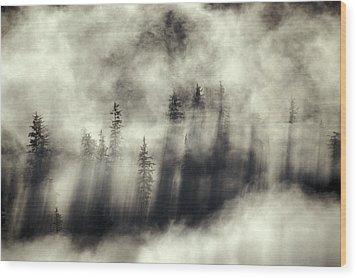 Foggy Landscape Stephens Passage Wood Print by Ron Sanford