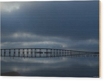 Wood Print featuring the photograph Foggy Mirrored Navarre Bridge At Sunrise by Jeff at JSJ Photography
