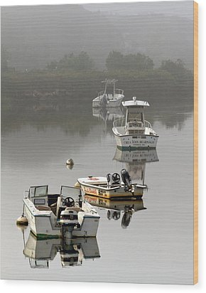 Foggy Moorings Wood Print by Carl Jacobs