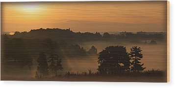 Foggy Morning At Valley Forge Wood Print
