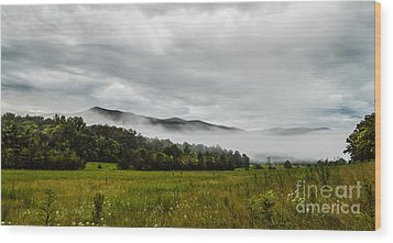 Wood Print featuring the photograph Foggy Morning In The Mountains. by Debbie Green