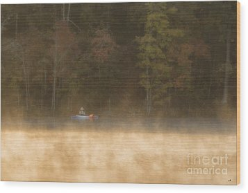 Foggy Morning Kayaking Wood Print