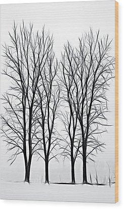 Foggy Morning Landscape - Fractalius  Wood Print by Steve Ohlsen
