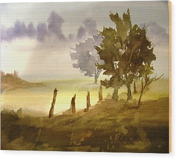 Foggy Morning Wood Print