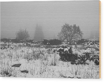 Wood Print featuring the photograph Foggy Morning Mountain Snow by Jivko Nakev