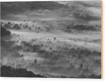 Wood Print featuring the photograph Foggy Morning On The Blue Ridge Parkway by Photography  By Sai