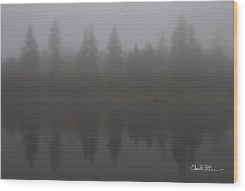 Foggy Morning On The Lake Wood Print