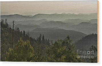 Foggy Morning Over Waterpocket Fold Wood Print by Sandra Bronstein