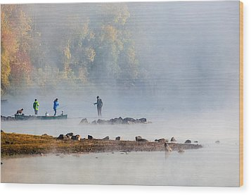 Foggy Morning St Croix River Stillwater Mn Wood Print