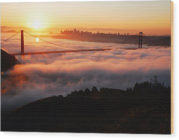 Foggy Morning San Francisco Wood Print by James Kirkikis
