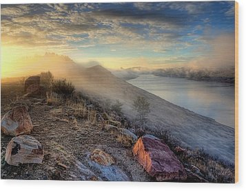 Foggy Morning Sunrise Wood Print by Steve Barge