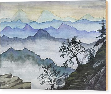 Foggy Mountaines Sunset View  Wood Print